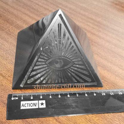 all seeing eye shungite pyramid 10 cm for decor