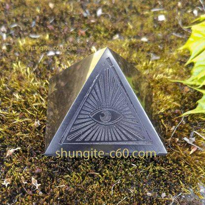 all seeing eye decor pyramid of shungite stone