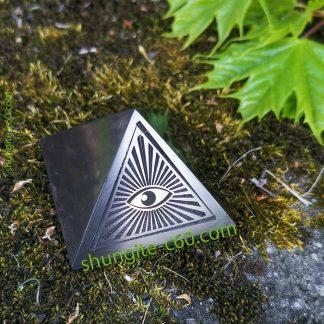 all seeing eye pyramid of shungite stone