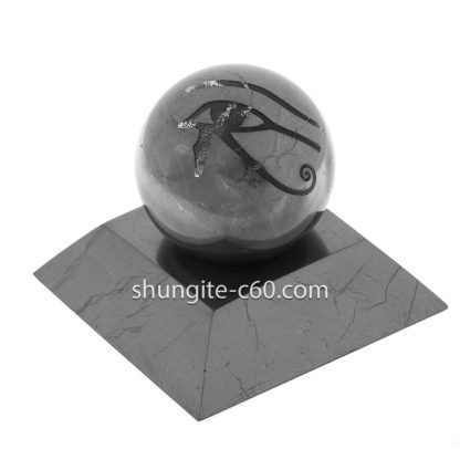 stone sphere of shungite with engraving