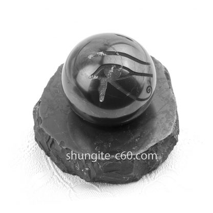 stone sphere of shungite with Eye of Horus