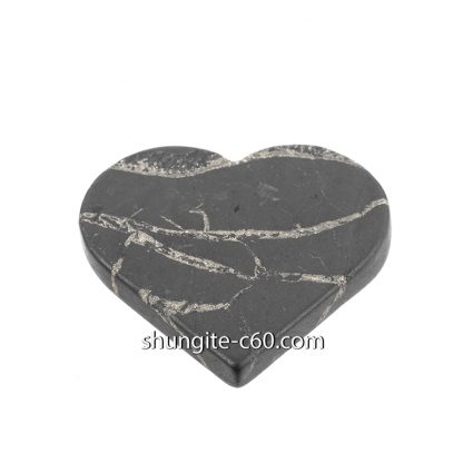 shungite emf protection plate in shape heart