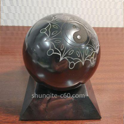 shungite Yin and Yang stone sphere engraved