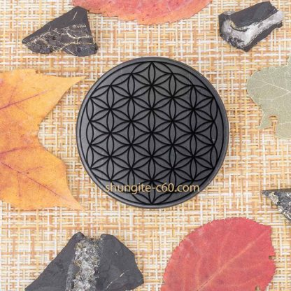 shungite emf shield circle carved pattern flower of life