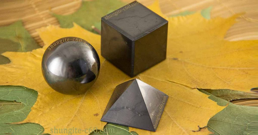 Shungite emf protection set for home pyramid, sphere and cube