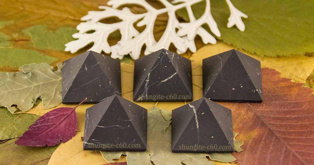 natural unpolished shungite stone pyramids for EMF protection