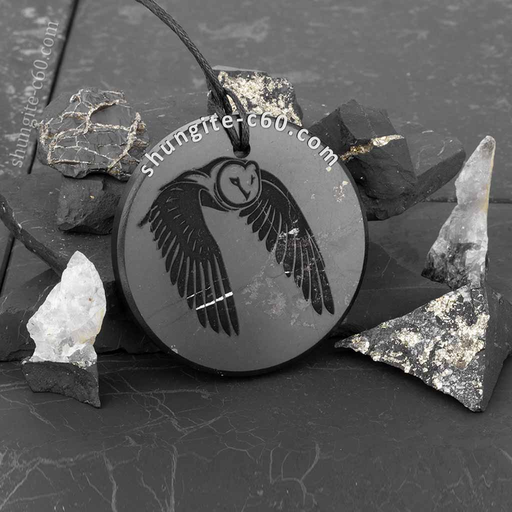 shungite pendant with the image of an owl