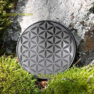 shungite emf plate flower of life 50-70 mm