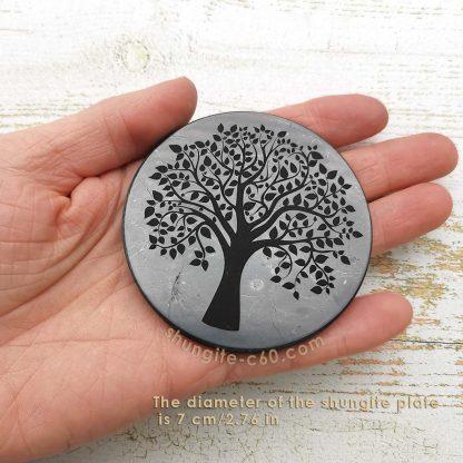 shungite stone disk tree of life