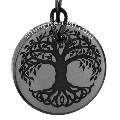 shungite pendant with deep engraving image Tree of Life