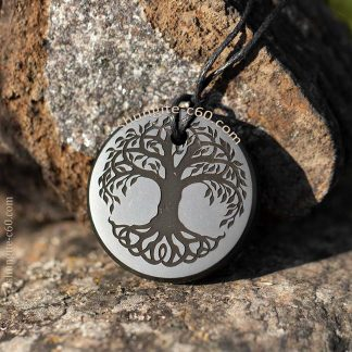 shungite pendant deep engraving Tree of Life Celtic