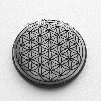 shungite emf shield circle carved flower of life