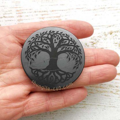 shungite engraved circle for emf diameter 5 cm
