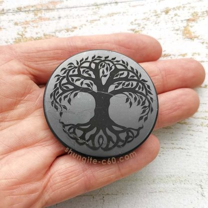 shungite engraved circle for emf size 5 cm