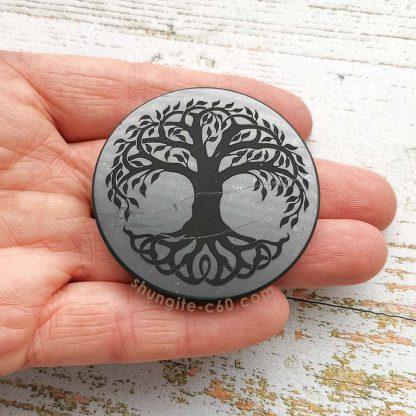 shungite engraved tree of life circle size 5 cm