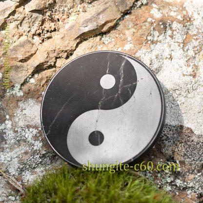 shungite emf protective plate Yin and Yang