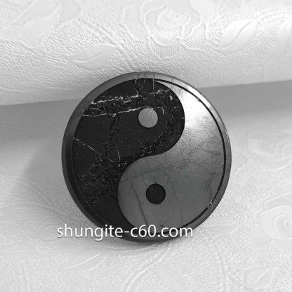 shungite emf protective plate Yin and Yang with quartz viens