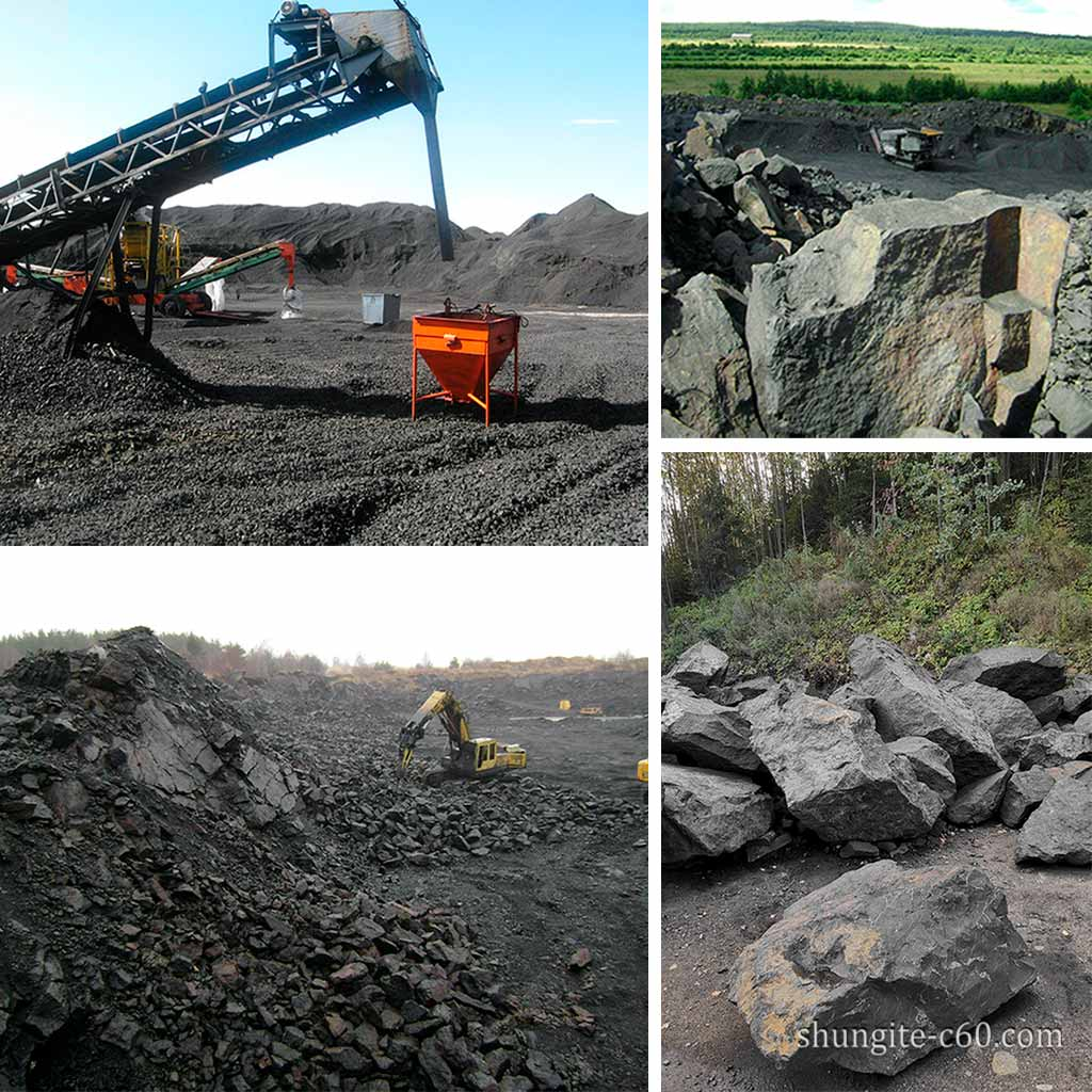 Industrial Mining of shungite stone at the Zazhoginskoe deposit