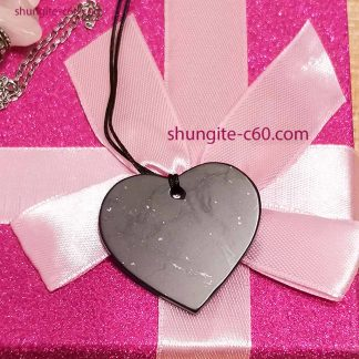 shungite customized heart necklace