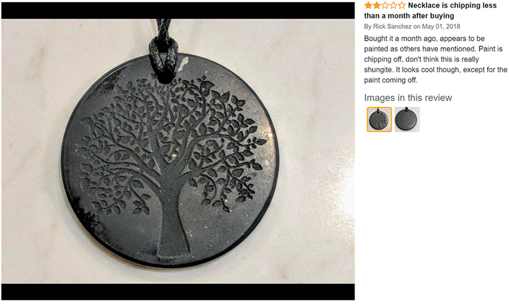 pendant of shungite painted or not  when wearing shungite.