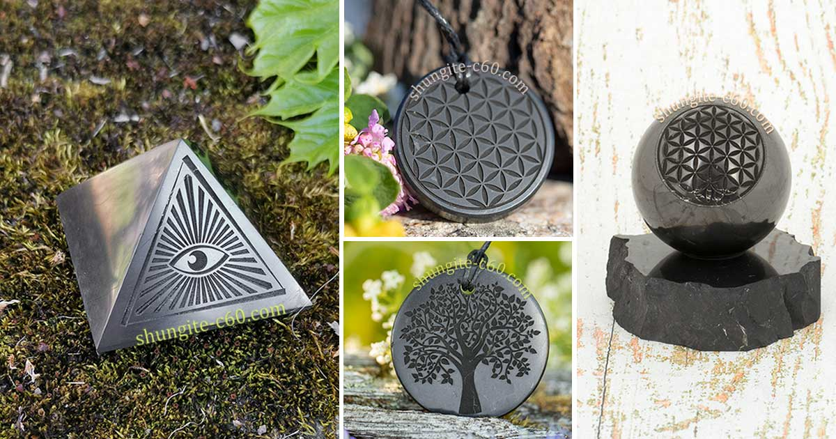 various products made of shungite stone with engraving