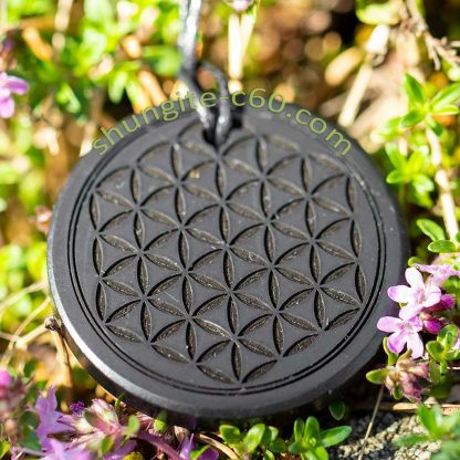 shungite pendant engraved deep shungite flower of life