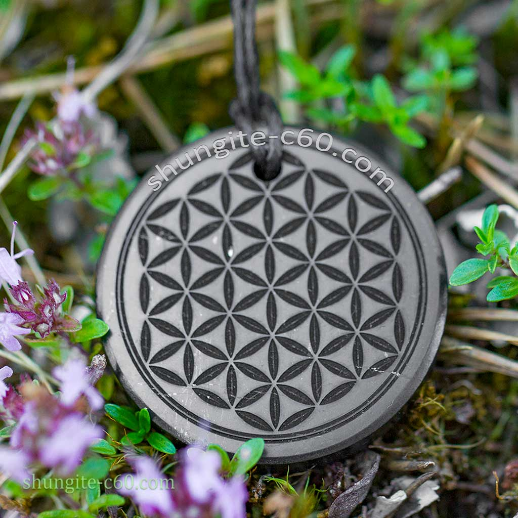engraved pendant flower of life for emf protection