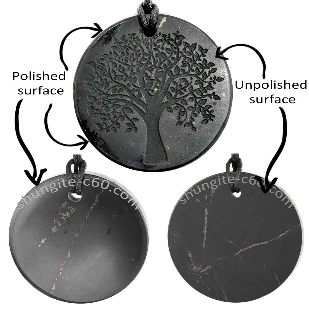 shungite pendant new with a polished surface and shabby matte these are not scratches, but veins of pyrite and quartz