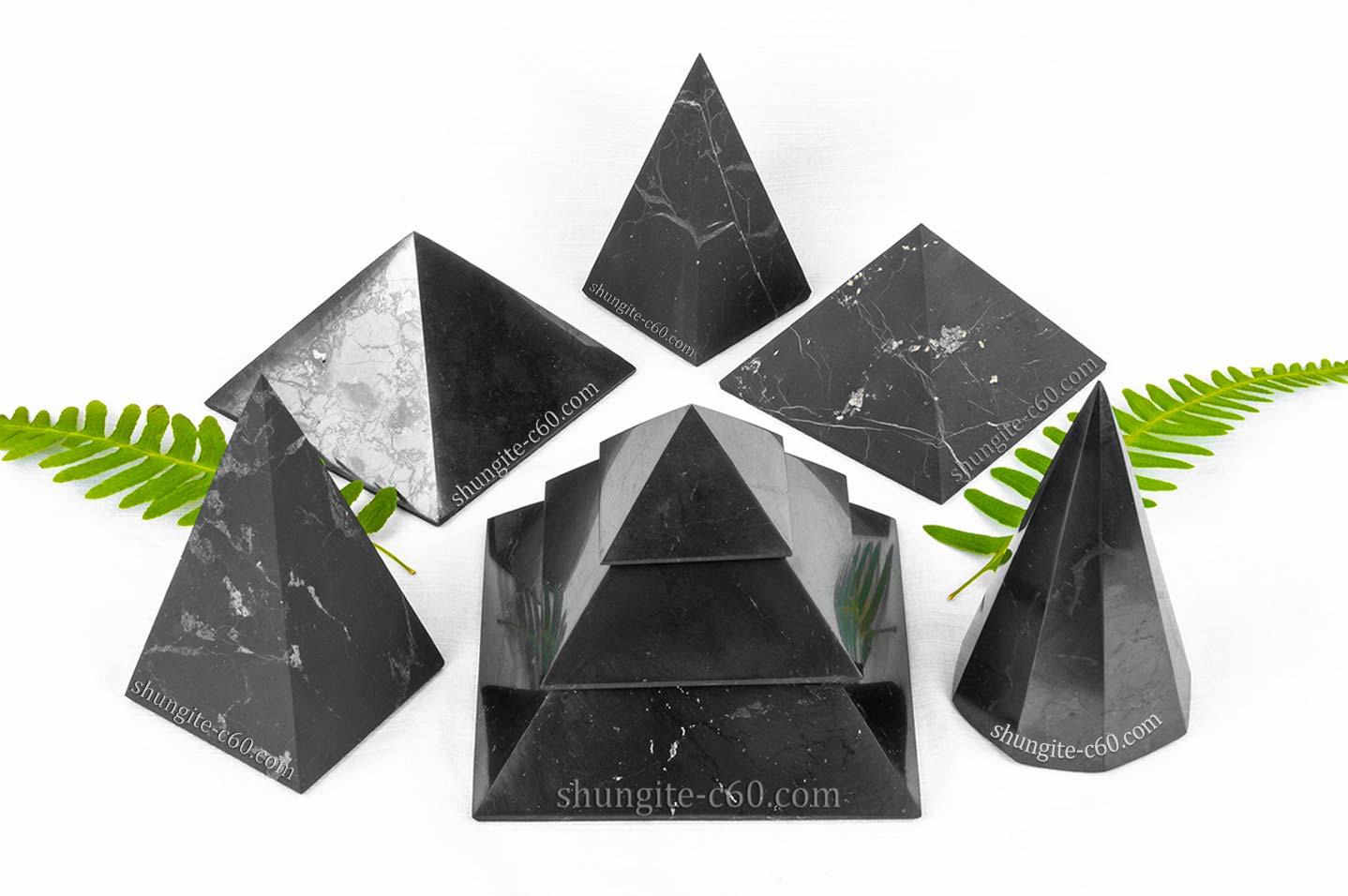 different Shungite stone pyramids
