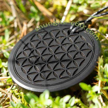 shungite pendant engraved deep flower of life