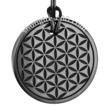 shungite flower of life shungite pendant deep engraved