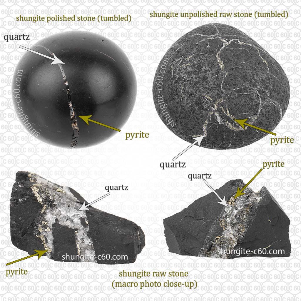 Shungite rocks with a inclusions pyrite and quartz