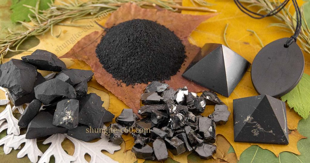 shungite crystal of elite and black stone and pyramids