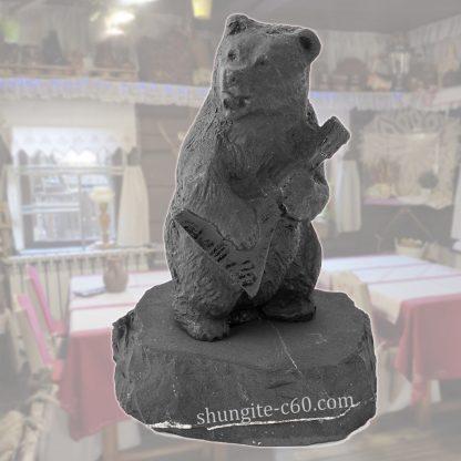 shungite figurine bear with balalaika from Russia