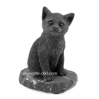 shungite black cat figurine