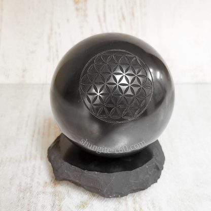 shungite sphere engraved flower of life