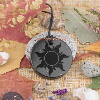 engraved shungite pendant necklace sun