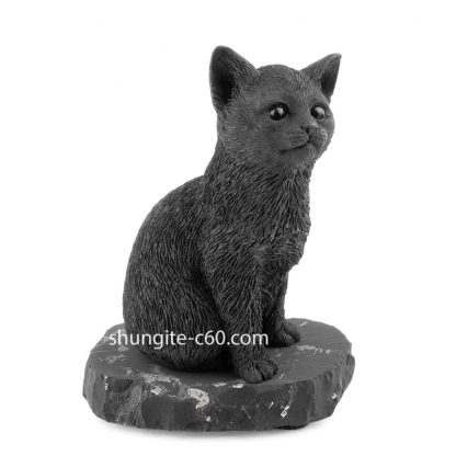 shungite black cat figurine of stone