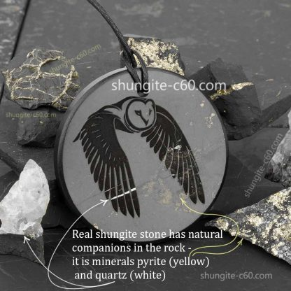 shungite rock and natural inclusions quartz and pyrite minerals