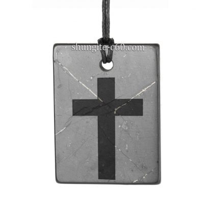 shungite cross necklace engraved