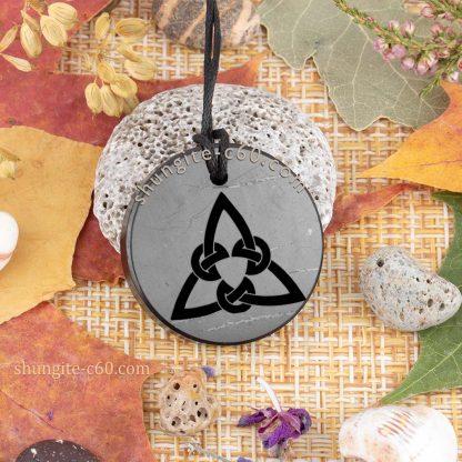 original shungite trefoil celtic pendant