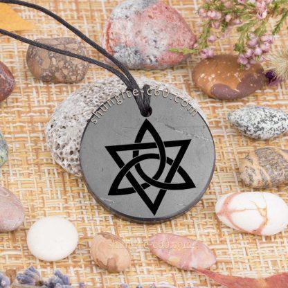 shungite triquetra cross pendant