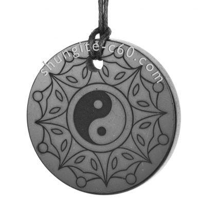 shungite pendants engraved yin yang