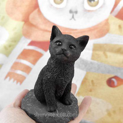 shungite figurine cat shungite and quartz