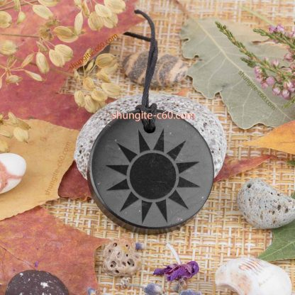 shungite sun pendant engraved high quality