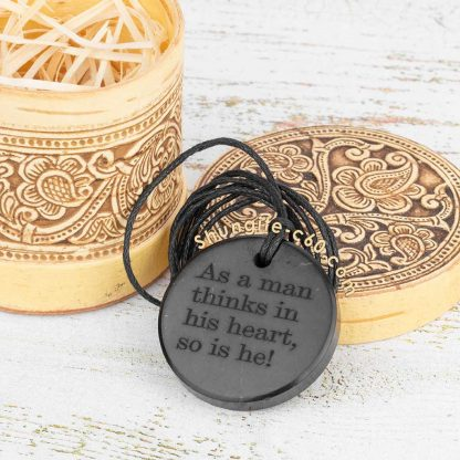 shungite necklace engraved text with gift box