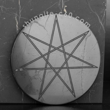 shungite plate septagram on a black stone