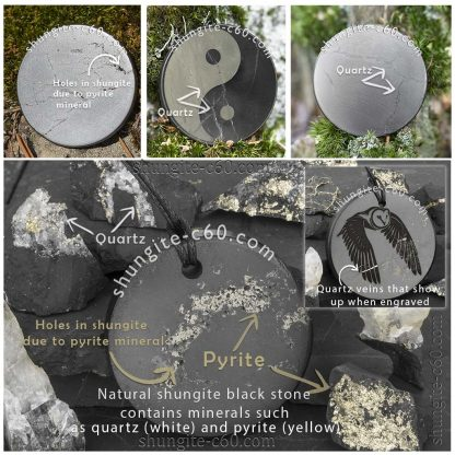 shungite round plate with quartz and pyrite