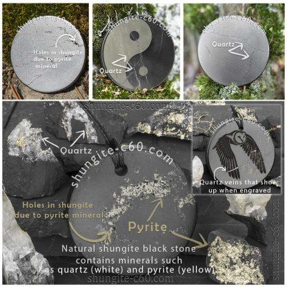 shungite round plate with quartz and pyrite
