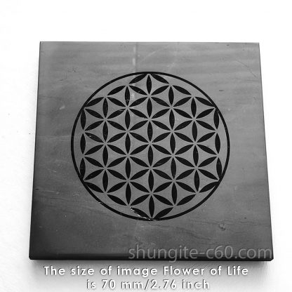 shungite flower of life plate tile 70 mm
